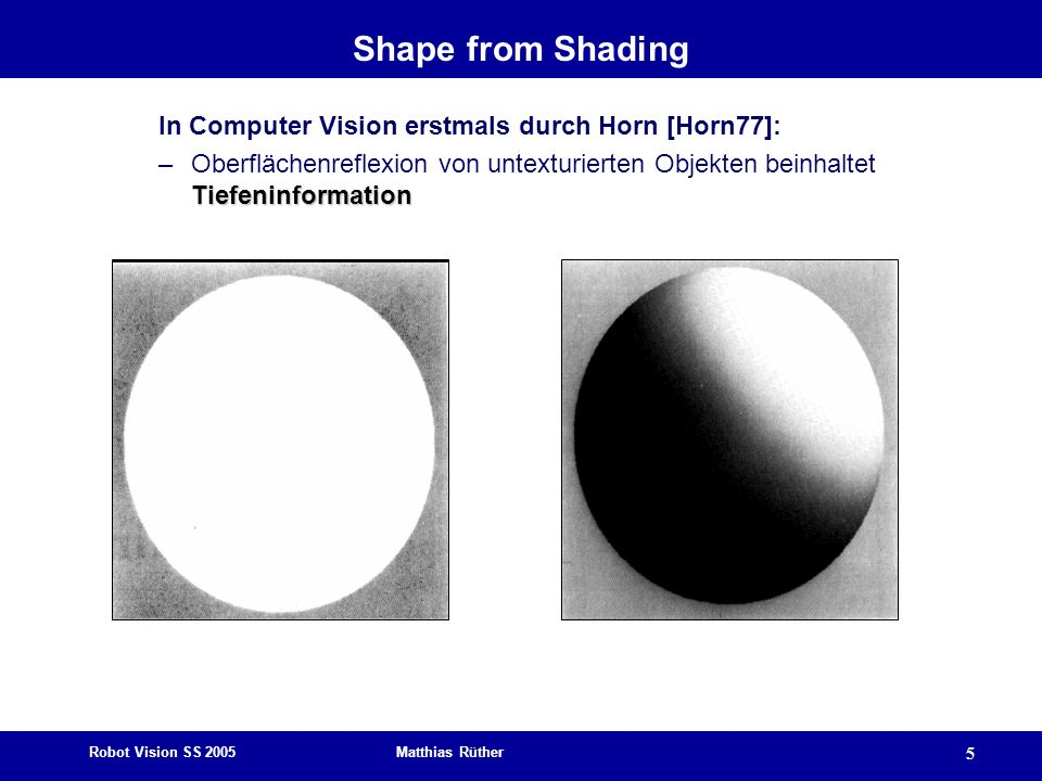 Shape from Shading In Computer Vision erstmals durch Horn [Horn77]: